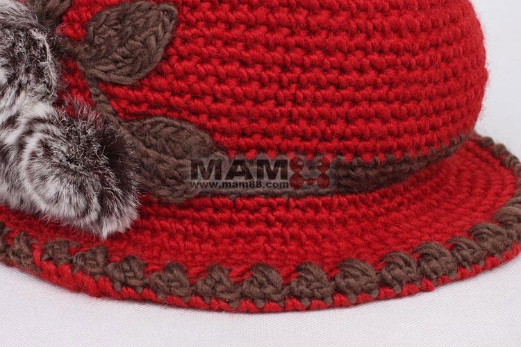 冬季中老年女士帽子 花朵针织帽 毛线帽